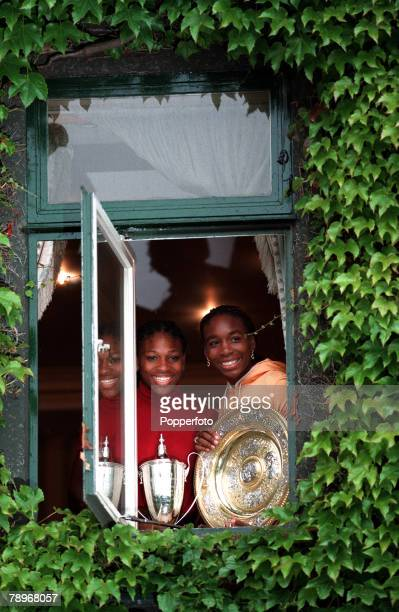 Tennis Wimbledon Lawn Tennis Championships Womens Doubles Final 10th July 2000 The Williams sisters Venus and Serena look out of a window displaying...