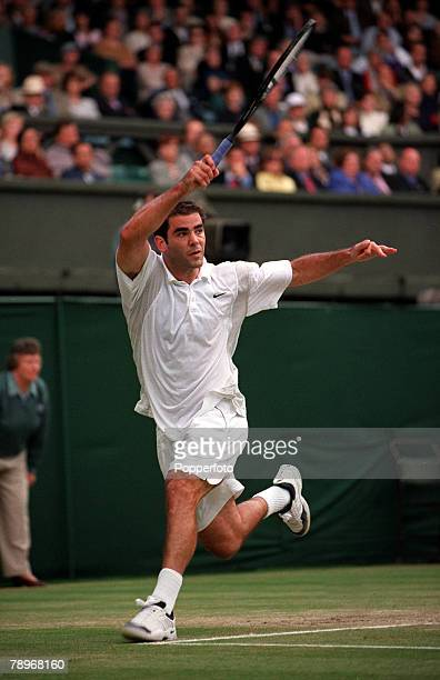 Tennis Wimbledon Lawn Tennis Championships9th July Mens Finals Pete Sampras of America is pictured after hitting a topspin forehand during his finals...