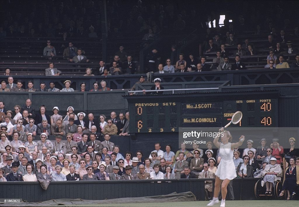 Wimbledon, Maureen Connolly in action at All England Club, London, GBR 7/1/1954