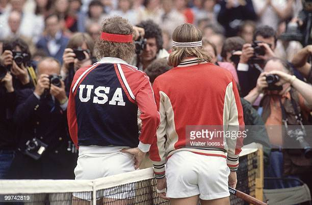 Wimbledon Rear view of USA John McEnroe and Sweden Bjorn Borg before Men's Final match at All England Club London England 7/4/1981 CREDIT Walter...