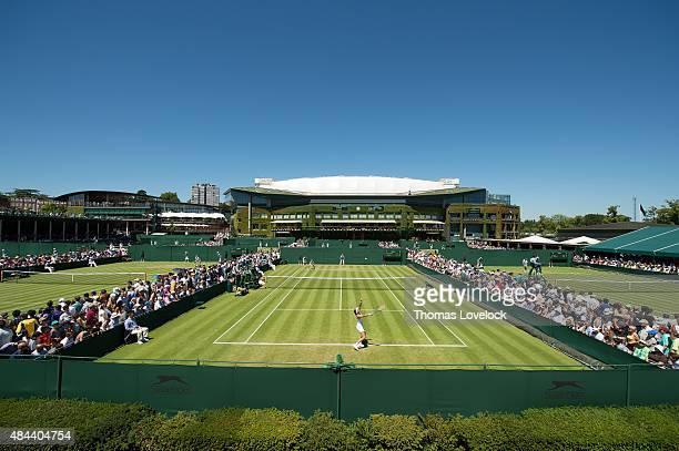 Scenic view of Crotia Mirjana Lucic-Baroni in action vs Kazakhstan Yaroslava Shvedova during Women's 1st Round at All England Club. London, England...