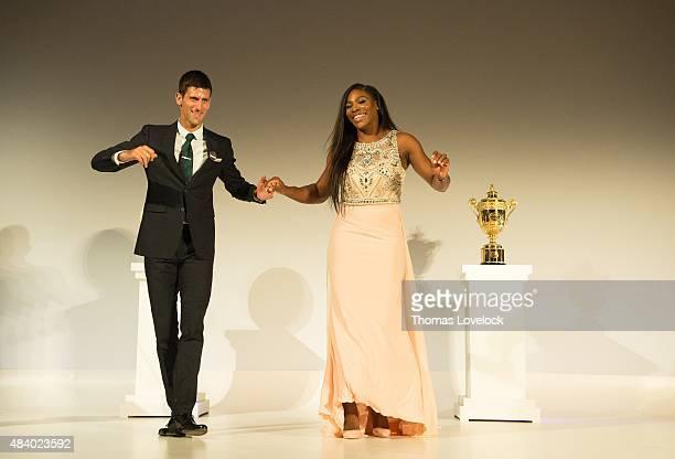 Wimbledon Serbia Novak Djokovic dancing with USA Serena Williams at the Champions dinner at Guildhall London England 7/13/2015 CREDIT Thomas Lovelock