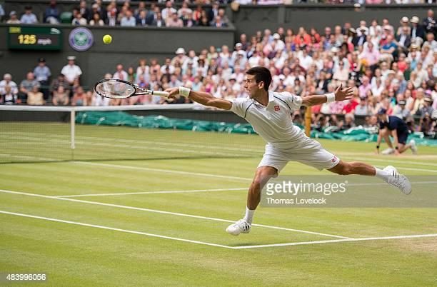 Wimbledon Serbia Novak Djokovic in action vs Switzerland Roger Federer during Men's Final at All England Club London England 7/12/2015 CREDIT Thomas...