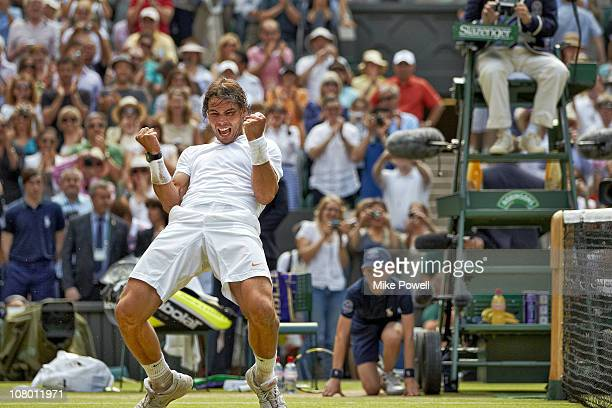 Wimbledon Spain Rafael Nadal victorious after winning Men's Final vs Czech Republic Tomas Berdych at All England ClubLondon England 7/4/2010CREDIT...