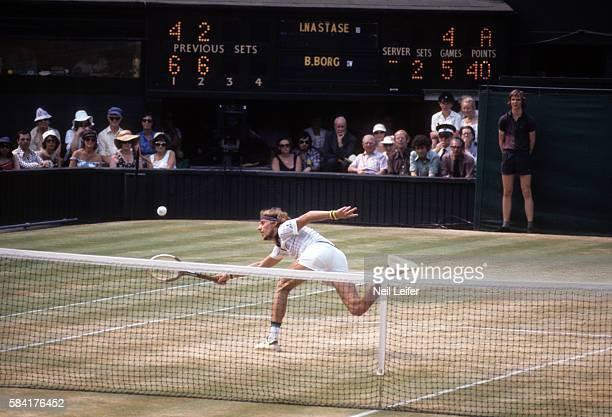 Wimbledon Sweden Bjorn Borg in action during Men's Final match vs Romania Ilie Nastase at All England Club London England 7/3/1976 CREDIT Neil Leifer