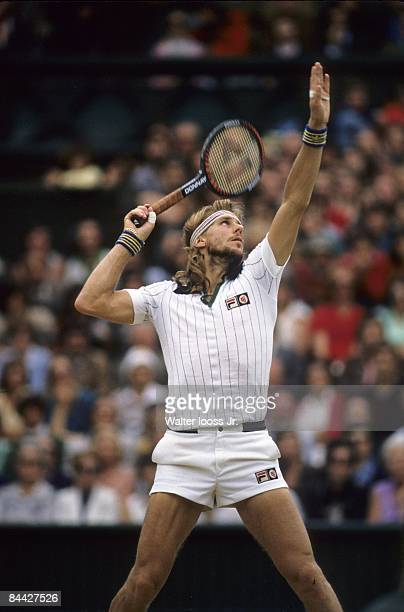 Wimbledon Sweden Bjorn Borg in action serve during match at All England Club London England 6/1/19807/31/1980 CREDIT Walter Iooss Jr