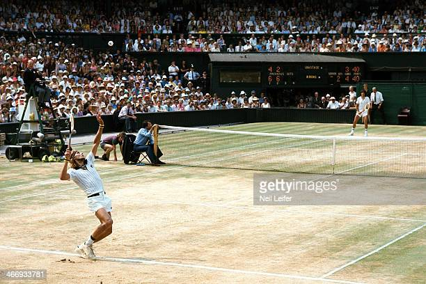 Wimbledon Sweden Bjorn Borg in action serve vs Romania Ilie Nastase during Finals at All England Club London England 6/30/1976 CREDIT Neil Leifer