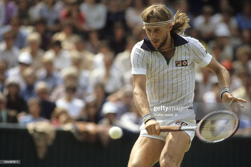 Sweden Bjorn Borg in action vs USA John McEnroe during Men's Final at All England Club. London, England 7/6/1980
