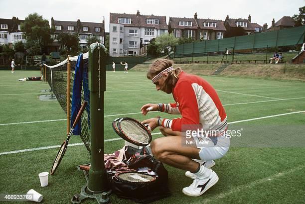 Wimbledon Sweden Bjorn Borg on practice court before Men's Final match at All England Club London England 6/30/1976 CREDIT Neil Leifer