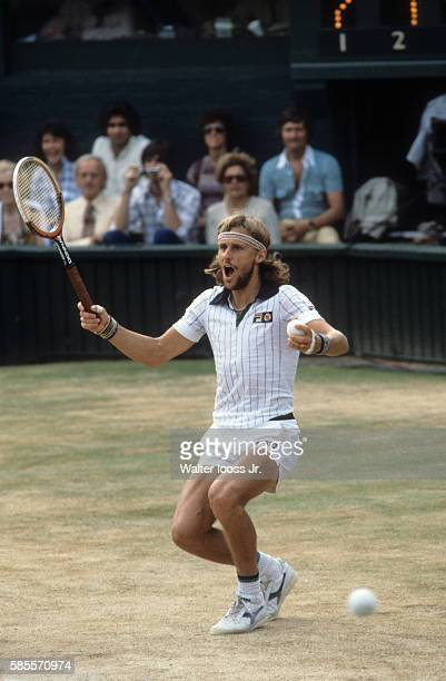 Wimbledon Sweden Bjorn Borg victorious during Men's Finals match vs USA John McEnroe at All England Club London England 7/5/1980 CREDIT Walter Iooss...