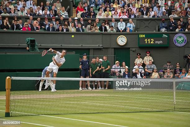 Wimbledon Switzerland Roger Federer in action serving vs Serbia Novak Djokovic during Men's Final at All England Club London England 7/12/2015 CREDIT...