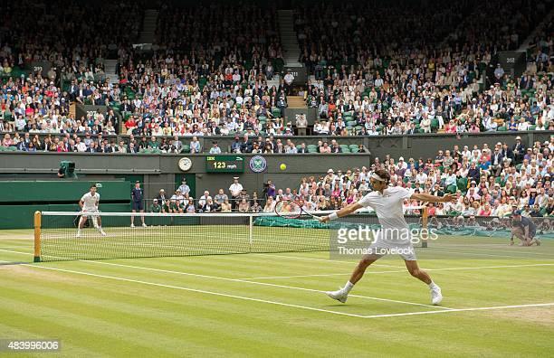 Wimbledon Switzerland Roger Federer in action vs Serbia Novak Djokovic during Men's Final at All England Club London England 7/12/2015 CREDIT Thomas...