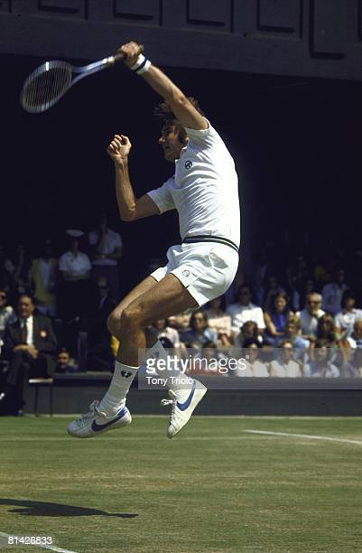 Tennis: Wimbledon, USA Jimmy Connors in action during finals match vs USA Arthur Ashe at All England Club, London, GBR 7/7/1975