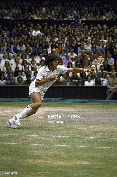 Tennis: Wimbledon, USA Jimmy Connors in action vs USA Arthur Ashe during Finals at All England Club, London, England 7/7/1975