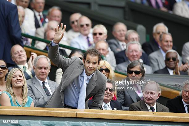 Wimbledon View of former player Pete Sampras with wife Bridgette Wilson Manuel Santana Rod Laver and Bjorn Borg watching Men's Finals match between...