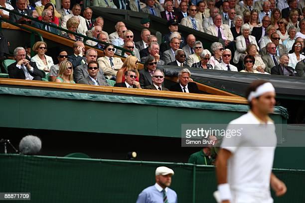 Wimbledon View of former players Pete Sampras Manuel Santana Rod Laver and Bjorn Borg watching Men's Finals match between Switzerland Roger Federer...