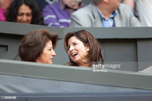 Wimbledon View of Lynette Federer and Mirka Federer during Men's Quarterfinals Switzerland Roger Federer vs France JoWilfried Tsonga match at All...