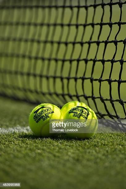 Wimbledon View of Slazenger logo and 2015 Wimbledon on tennis balls on grass at All England Club Equipment London England 7/9/2015 CREDIT Thomas...