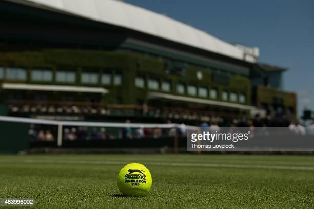Wimbledon View of Slazenger logo and 2015 Wimbledon on tennis ball on grass at All England Club Equipment London England 7/9/2015 CREDIT Thomas...