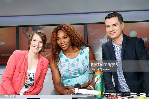 Tennis Women players Justine Henin and winner of Roland Garros 2013 Serena Williams with Journalist Laurent Luyat on France Television french chanels...