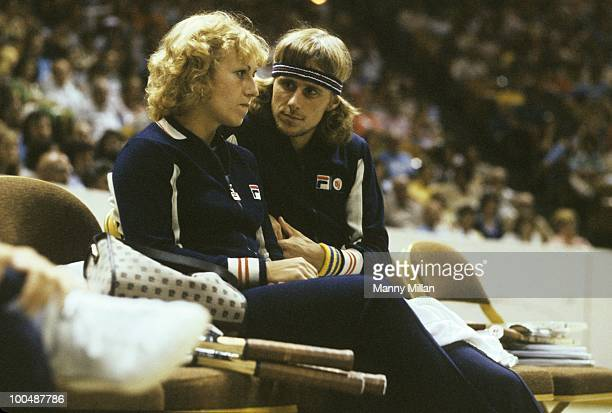 World Team Tennis Cleveland Nets Bjorn Borg with teammate girlfriend Mariana Simionescu on sidelines during game vs New York Apples at Madison Square...
