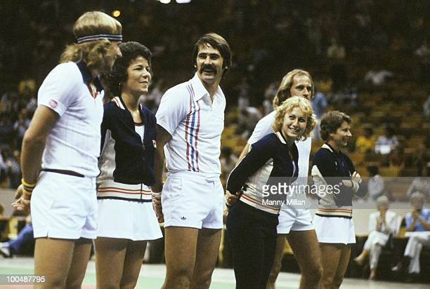 World Team Tennis: Cleveland Nets Bjorn Borg with teammate, girlfriend Mariana Simionescu before game vs New York Apples at Madison Square Garden....
