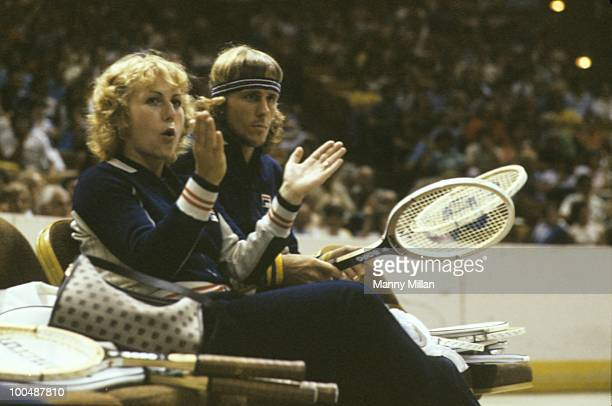 World Team Tennis: Cleveland Nets Bjorn Borg with teammate, girlfriend Mariana Simionescu on sidelines during game vs New York Apples at Madison...