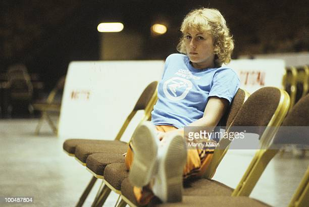 World Team Tennis Cleveland Nets Mariana Simionescu before game vs New York Apples at Madison Square Garden New York NY 7/15/1977 CREDIT Manny Millan