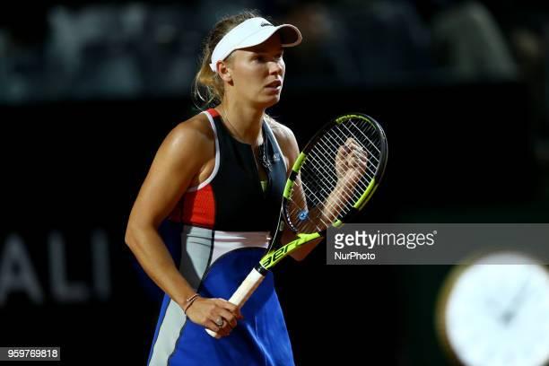 Tennis WTA Internazionali d'Italia BNL round of sixteen Caroline Wozniacki celebrates at Foro Italico in Rome Italy on May 17 2018