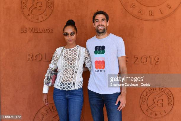 Tennisman Jeremy Chardy and wife model Susan Gossage attend the 2019 French Tennis Open Day Eight at Roland Garros on June 02 2019 in Paris France