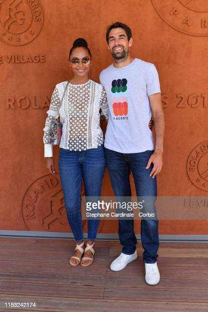 Tennisman Jeremy Chardy and wife model Susan Gossage attend the 2019 French Tennis Open - Day Eight at Roland Garros on June 02, 2019 in Paris,...