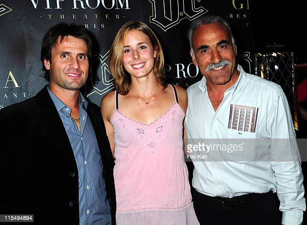 Tennismen and tenniswoman Fabrice Santoro Alize Cornet and Mansour Bahrami attend the Mansour Bahrami's Roland Garros Party at the VIP Room Theater...