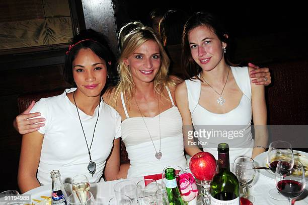 Tenniswoman Charlene Vanneste models Sarah Marshall and Nathalie White attend the Mumm's Princesses Dinner Party at the Castel Club on September 16...