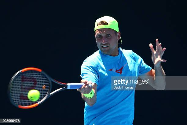 Tennys Sandgren of the United plays a backhand during a practice session on day nine of the 2018 Australian Open at Melbourne Park on January 23 2018...
