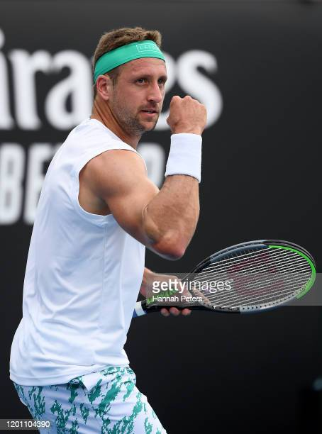 Tennys Sandgren of the United States celebrates after winning a point during his Men's Singles second round match against Matteo Berrettini of Italy...