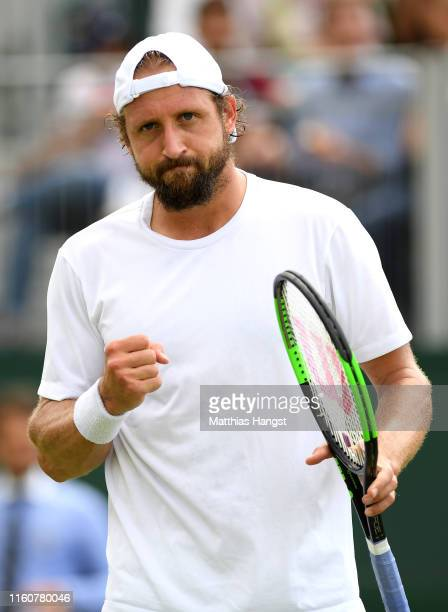 Tennys Sandgren of The United States celebrates in his Men's Singles fourth round match against Sam Querrey of The United States during Day Seven of...