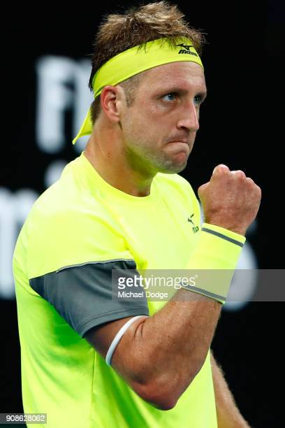 Tennys Sandgren of the United States celebrates winning a point in his fourth round match against Dominic Thiem of Austria on day eight of the 2018...