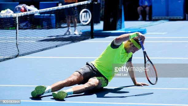 Tennys Sandgren of the United States falls in his quarterfinal match against Hyeon Chung of South Korea on day 10 of the 2018 Australian Open at...