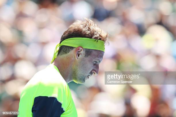 Tennys Sandgren of the United States looks on in his quarterfinal match against Hyeon Chung of South Korea on day 10 of the 2018 Australian Open at...