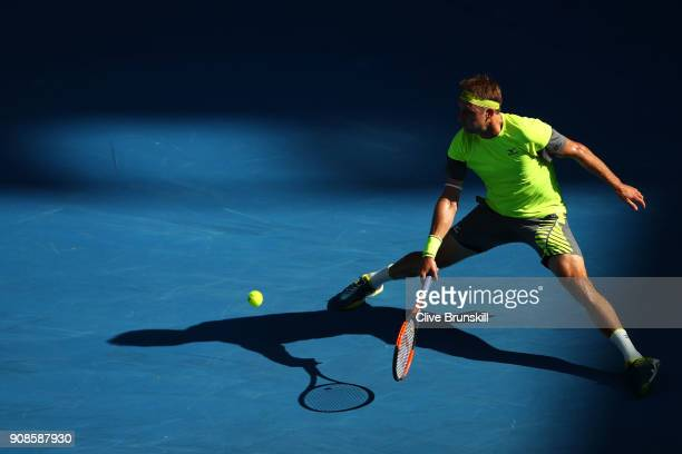 Tennys Sandgren of the United States plays a backhand in his fourth round match against Dominic Thiem of Austria on day eight of the 2018 Australian...