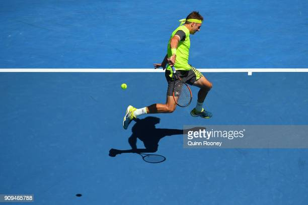 Tennys Sandgren of the United States plays a backhand in his quarter-final match against Hyeon Chung of South Korea on day 10 of the 2018 Australian...