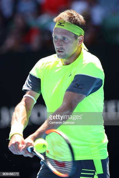 Tennys Sandgren of the United States plays a backhand in his quarterfinal match against Hyeon Chung of South Korea on day 10 of the 2018 Australian...