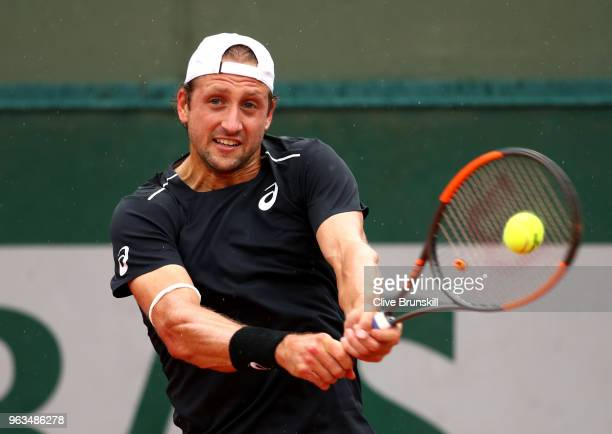 Tennys Sandgren of The United States plays a forehand duirng the mens singles first round match against Hubert Hurkacz of Poland during day three of...