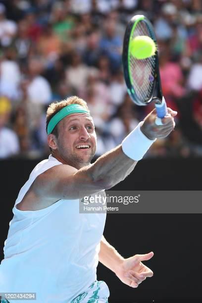 Tennys Sandgren of the United States plays a forehand during his Men's Singles Quarterfinal match against Roger Federer of Switzerland on day nine of...