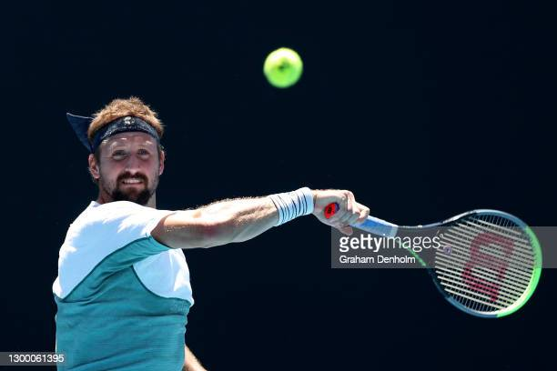 Tennys Sandgren of the United States plays a forehand in his match against Salvatore Caruso of Italy during day three of the ATP 250 Great Ocean Road...