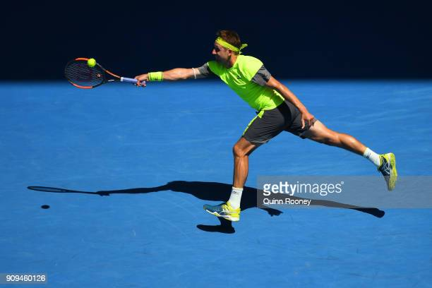 Tennys Sandgren of the United States plays a forehand in his quarterfinal match against Hyeon Chung of South Korea on day 10 of the 2018 Australian...