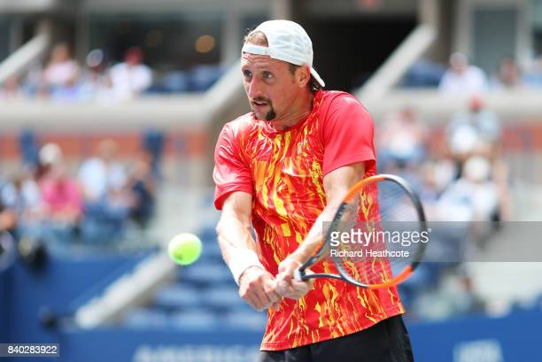Tennys Sandgren of the United States reacts during his first round Men's Singles match against Marin Cilic of Croatia on Day One of the 2017 US Open...