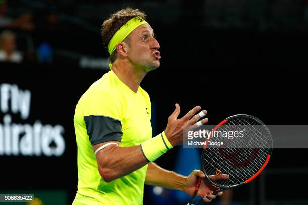 Tennys Sandgren of the United States reacts in his fourth round match against Dominic Thiem of Austria on day eight of the 2018 Australian Open at...