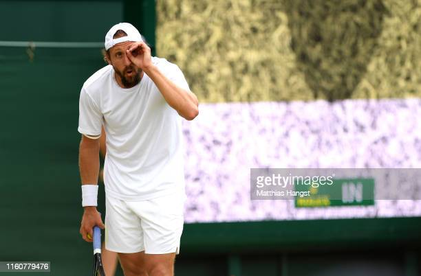 Tennys Sandgren of The United States reacts in his Men's Singles fourth round match against Sam Querrey of The United States during Day Seven of The...