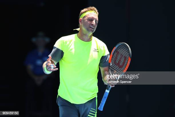 Tennys Sandgren of the United States reacts in his quarterfinal match against Hyeon Chung of South Korea on day 10 of the 2018 Australian Open at...